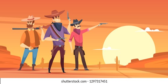 Western background. Dessert silhouettes and cowboys on horses wildlife vector illustrations