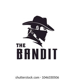 Western Bandit Wild West Cowboy Gangster with Bandana Scarf Mask Logo illustration