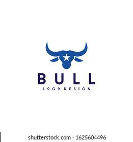 western Bull Head silhouette with star logo design