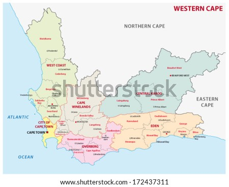 Western Cape South Africa Administrative Map Stock Vector Royalty