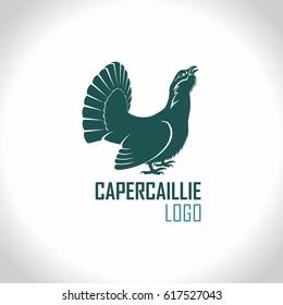 Western capercaillie, wood grouse, male bird - vector logo emblem