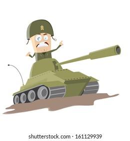 western cartoon soldier in a tank