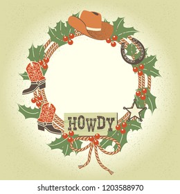 Western christmas wreath with cowboy decoration and lasso.Vector illustration