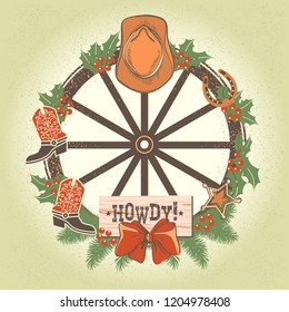 Western christmas wreath with old wood wheel and cowboy decorations. Vector illustration