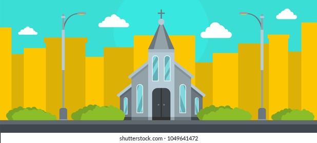 Western church gospel banner. Flat illustration of western church gospel vector banner for web