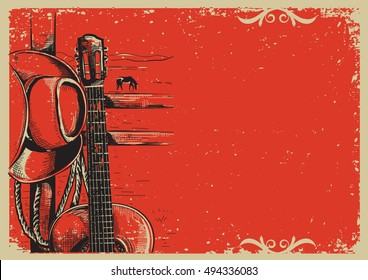 Western country music poster with american cowboy hat and guitar on vintage paper background