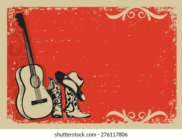 Western country music poster with cowboy shoes and music guitar background for text