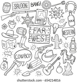 Western Cowboy Doodle Icons Sketch Hand Made