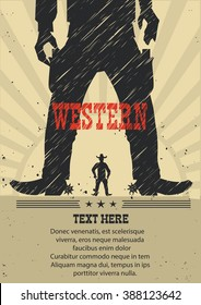 Western cowboy duel gunfight.Vector american poster for text