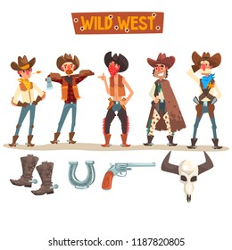 Western cowboys set, Wild West people with equipment and accessories vector Illustration on a white background