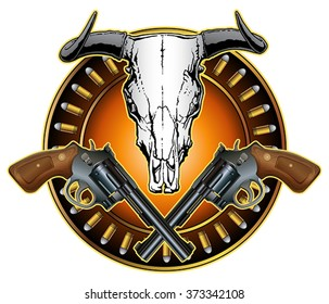 Western Crossed Pistols and Skull Design is an illustration of crossed revolvers, a bull or steer skull and a ring of bullets in a American western style design.