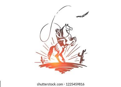 Western day, wild, cowboy, Texas, horseman concept. Hand drawn horseman in wild desert concept sketch. Isolated vector illustration.