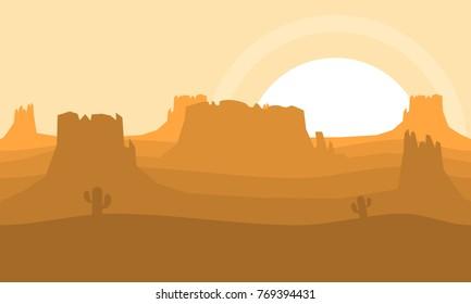 Western desert illustration for game background