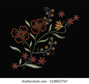 western flowers slogan embroidery
