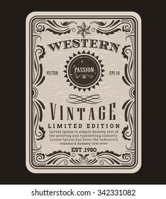 Western frame border vintage label hand drawn engraving retro antique vector illustration