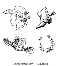 Western hand draw sketch vector set. Western background.  Cowboy,  boots, hat, horseshoe,