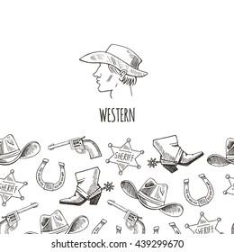 Western hand draw sketch vector banner. Western background.  Cowboy,  boots, hat, horseshoe, star, colt