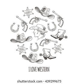 Western hand draw sketch vector set. Western background.  Cowboy,  boots, hat, horseshoe, star, colt