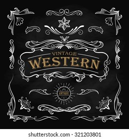 Western hand drawn elements frame label blackboard vintage banner vector illustration