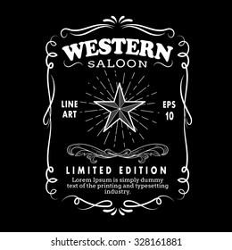 Western Hand Drawn Frame border label retro engraving antique vector illustration