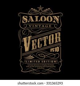 Western hand drawn frame label border vintage vector illustration