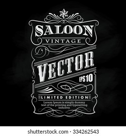 Western hand drawn frame label blackboard typography border vintage vector illustration