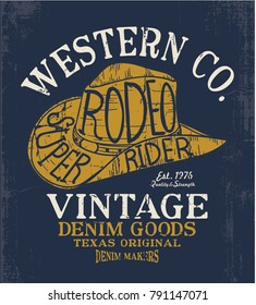 western hat drawing as vector for tee print