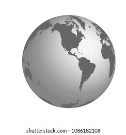 Western Hemisphere vector illustration. Grey colors on white background.