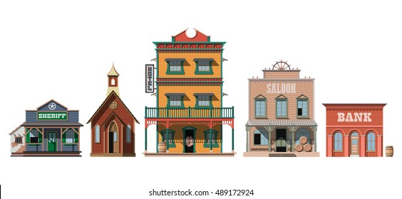 Western houses isolated on white background