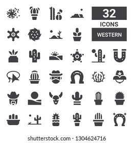 western icon set. Collection of 32 filled western icons included Horseshoe, Cactus, Desert, Bull skull, Sheriff, Cowboy hat, Tumbleweed, Cowboy, Lasso