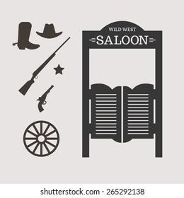 Western icons. Saloon door silhouette. Vector illustration