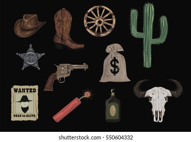 Western Icons  - Wild West set icon - high quality vectors