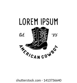 Western Logo American cowboy boots hand Draw Grunge style. Wild West symbol sing of a cowboy boots and Retro Typography. Vintage Emblem for print, poster, t-shirt, cover, banner or other business