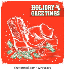 Western merry christmas and New Year red greeting card with cowboy boot and western hat.Vector illustration