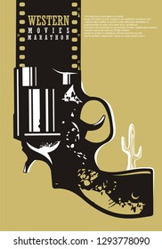 Western movies cinema poster design. Film industry advertise with revolver graphic, desert cactus and film strip. Artistic concept.