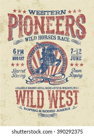 Western pioneers rodeo, vector artwork for t shirt grunge effect in separate layer