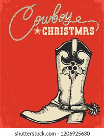 Western red christmas card with cowboy boot and text.Vector illustration