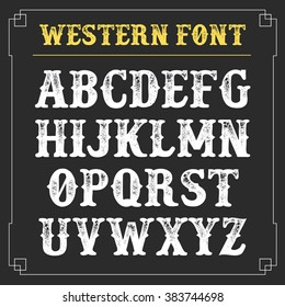 western retro alphabet. Vector background. Vintage typography