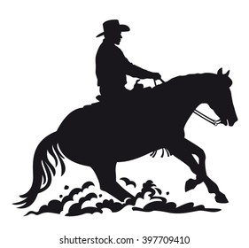 Western Rider performing Sliding Stop black silhouette isolated