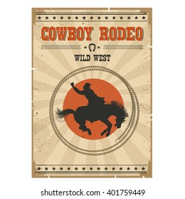 Western rodeo vintage poster.Cowboy riding wild horse on old paper