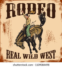 Western rodeo vintage sign, Cowboy riding wild horse.