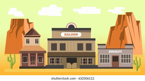 Western saloon and sheriff in desert colorful vector illustration