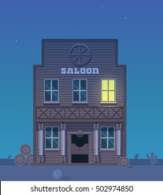 Western Saloon.Wild west wooden bar and doors.Vector background for text. Night sky.