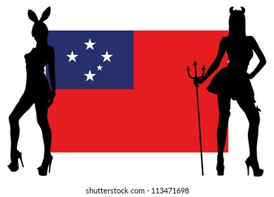 The Western Samoa flag with silhouettes of women in sexy costumes