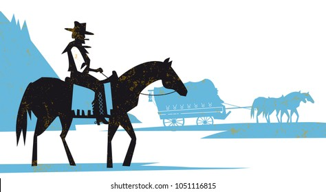 western scene illustration settlers with stagecoach wagon