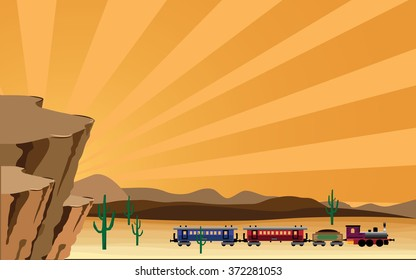 western scene with train