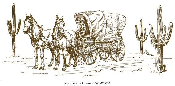 Western scenery with old wagon.