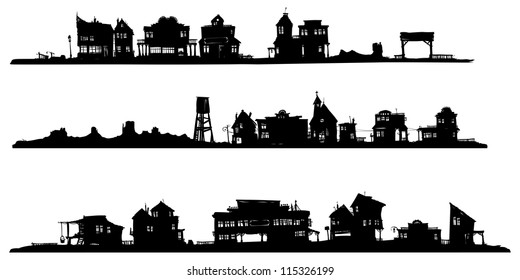 Western style buildings. Silhouette drawing.
