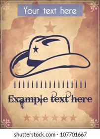 Western style poster with a cowboy hat, a star, an ammo belt and place for Your custom text
