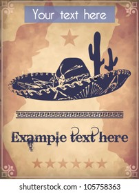 Western style poster with sombrero, cactus and text